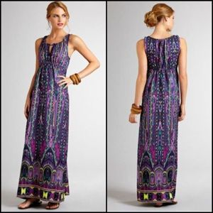 ECI Print Maxi Dress with Keyhole Detail